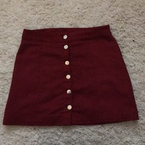 Dresses & Skirts - Burgundy faux suede skirt